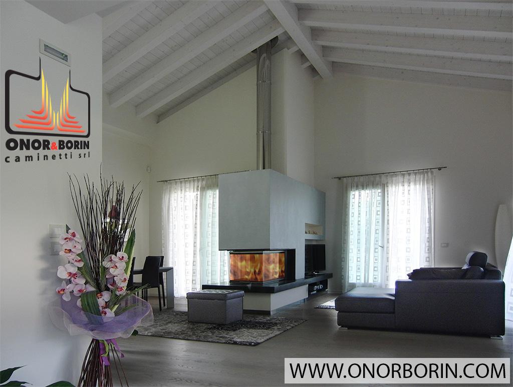 Caminetti tre vetri trifacciale - Onor e Borin