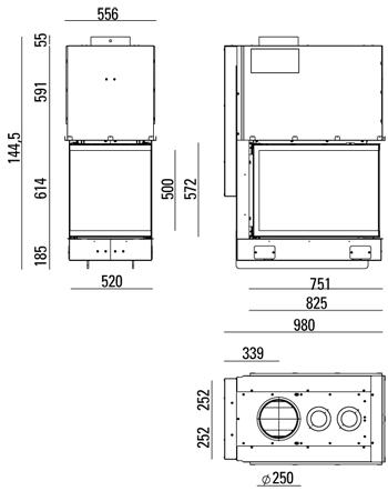Caminetto-legna-MCZ-forma-T50-dimensioni