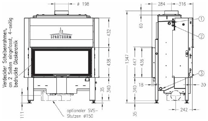 Termocamino-legna-Spartherm-Varia-a-FDh-h2o-Dimensioni