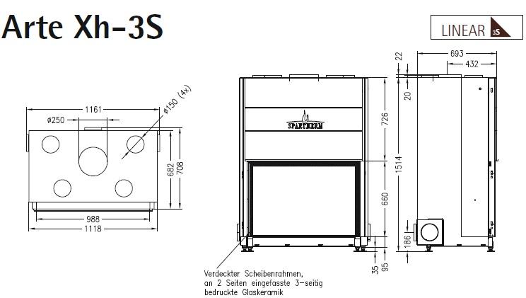 Caminetto-legna-Spartherm-Arte-Xh-dimensioni