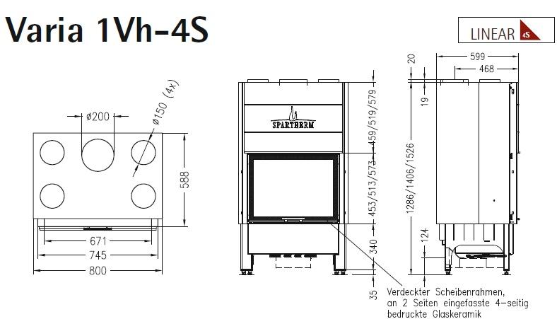 Caminetto-legna-Spartherm-Varia-1Vh-dimensioni