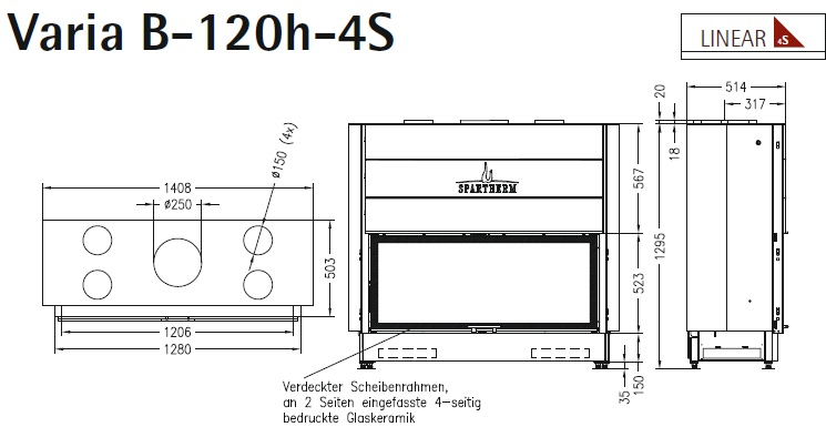 Caminetto-legna-Spartherm-Varia-B-120h-dimensioni