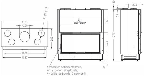 Caminetto-legna-Spartherm-Varia-Bh-dimensioni
